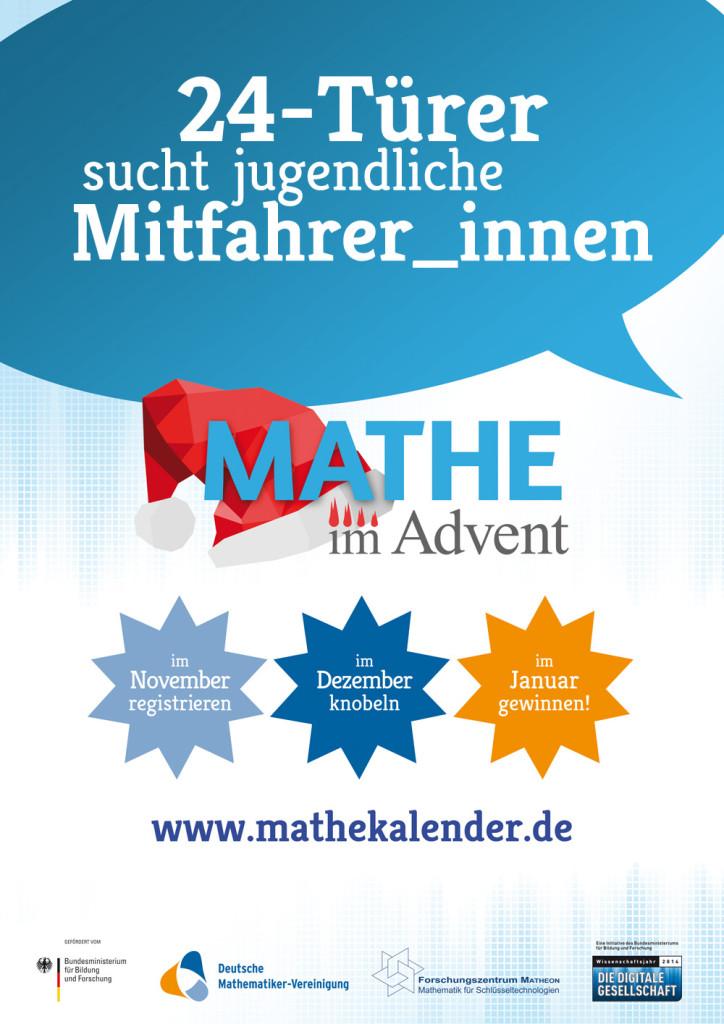 Das Mathe im Advent Plakat, das im Zuge der Kampagne in sämtlichen Schulen ausgehängt wurde.